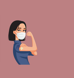 Asian woman showing vaccinated arm vector