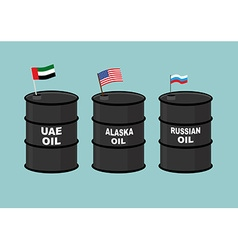 Barrels oil Black barrel of oil and State flag vector