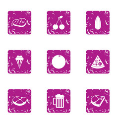 Beer pastime icons set grunge style vector