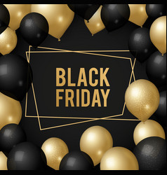 black friday background gold balloons sale vector image