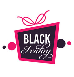 black friday sale promo banner with present vector image