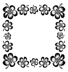 Black ink style drawn hibiscus tropical flowers vector