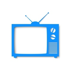Blue paper banner in form of tv vector