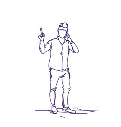 business man poining finger up doodle male vector image