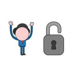 Businessman character with open padlock color and vector