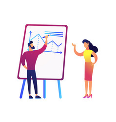 businessman drawing chart and discussing it with vector image