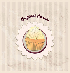 cake cafe menu background bakery label sweet vector image