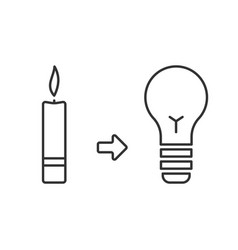 candle and light bulb lighting before and now vector image