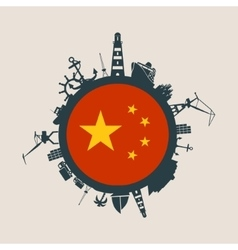 Cargo port relative silhouettes China flag vector image