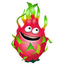 cartoon fun dragon fruit character pitaya vector image