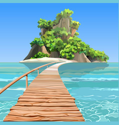Cartoon tropical island with a pier in turquoise vector