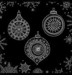Christmas tree decoration baubles line art vector