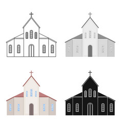 church icon in cartoon style isolated on white vector image
