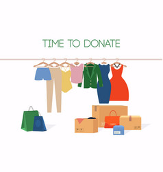 Clothes donation girl makes donations vector