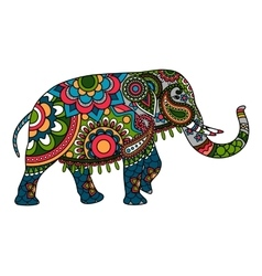 Colored doodle Indian elephant vector image
