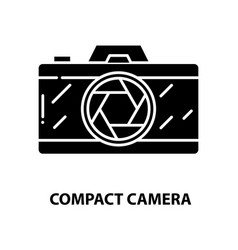 Compact camera icon black sign with vector