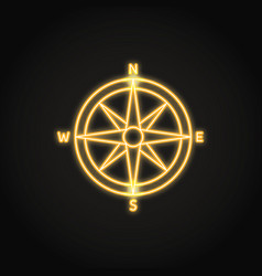 Compass rose icon in glowing neon style vector