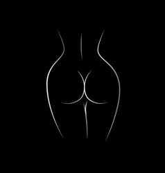 Contour naked female back and buttocks vector