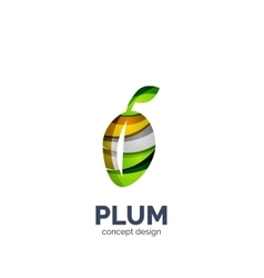 creative abstract plum fruit logo vector image