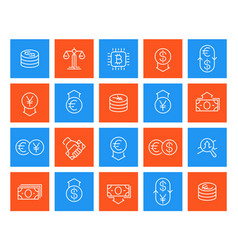 Currency finance line icons vector