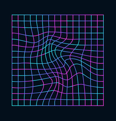 cyberpunk distorted neon grid synthwave vector image