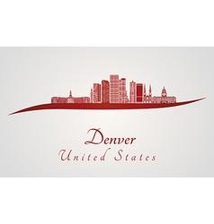 Denver skyline in red vector image