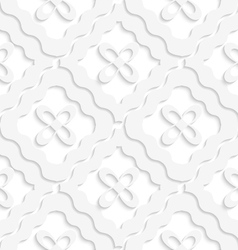 Diagonal white wavy squares and flowers pattern vector