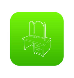 dressing table with a mirror icon green vector image