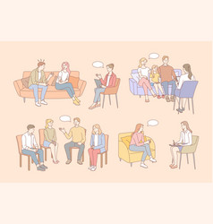 Family therapy psychology mental support set vector