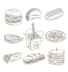 Fast Food Doodle Collection vector