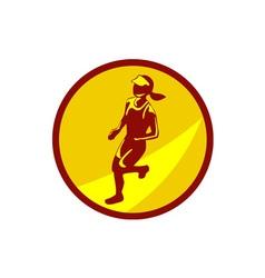 Female Marathon Runner Circle Retro vector
