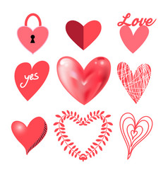 festive collection hearts vector image