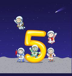 five astronaut on big number five vector image