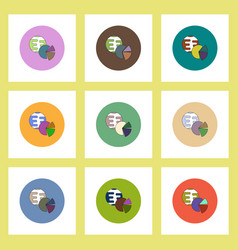 flat icons set of business pie chart and earth vector image