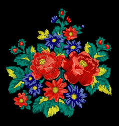 Floral embroidery fashion ethnic bouquet vector