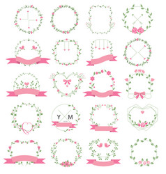 floral frame set for wedding flower shop vector image