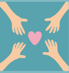 Four hands arms reaching to pink heart shape sign vector