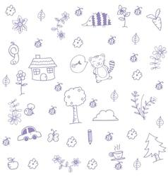 Funny garden of doodle art vector