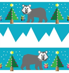 Geometric xmas pattern with polar bear vector image