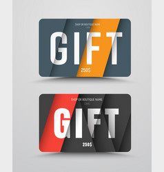 Gift card template in the style of material design vector