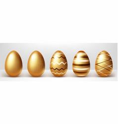 golden eggs realistic set vector image