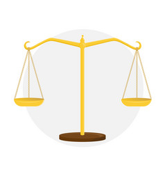 Golden scales of justice sign of the court vector