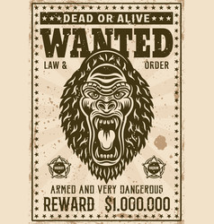gorilla head with angry grin wanted poster vector image