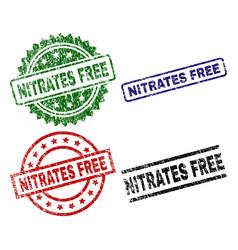 grunge textured nitrates free stamp seals vector image
