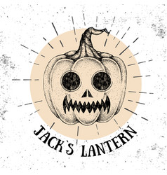 halloween hand drawn pumpkin jacks lantern vector image