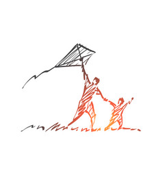 Hand drawn dad and son flying kite vector