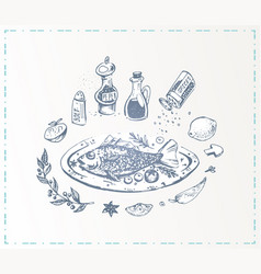 hand drawn food poster fish with vegetables vector image