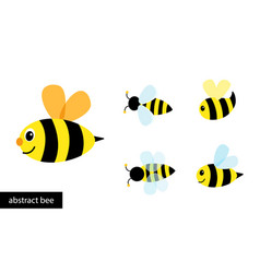 Happy cartoon bee flying collection abstract vector