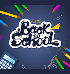 ink flowing in lettering form back to school vector image