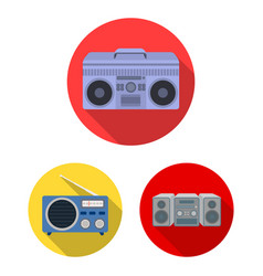 isolated object of boombox and sign collection vector image